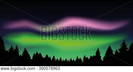 Aurora Borealis Beautiful Polar Lights In Forest Vector Illustration Eps10