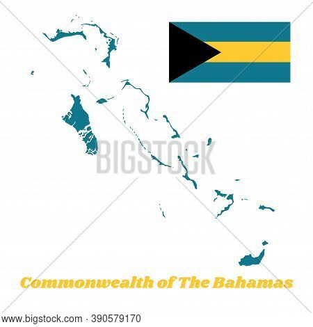Map Outline Of Bahamas, A Horizontal Triband Of Aquamarine (top And Bottom) And Gold With The Black