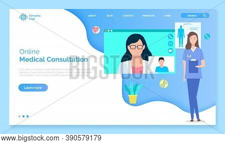 Landing Page Of Medical Website. Online Medical Consultation, Support, Medical Help. Consultation Wi