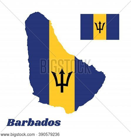 Map Outline And Flag Of Barbados, A Vertical Triband Of Ultramarine (hoist-side And Fly-side) And Go