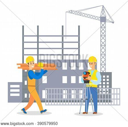 Male Builder In Uniform And Hard Hat Communicating With Man Foreman On Building Construction Backgro