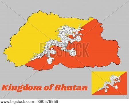 Map Outline And Flag Of Bhutan, Triangle Yellow And Orange, With A White Dragon Holding Four Jewels