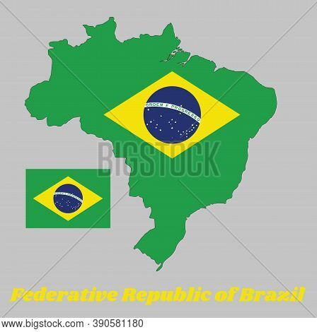 Map Outline Of Brazil, A Green Field With The Large Yellow Diamond And Blue Globe With National Mott