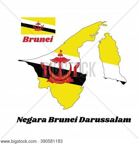 Map Outline And Flag Of Brunei, A Centered Red Crest On Yellow Field Cut By Black And White Diagonal