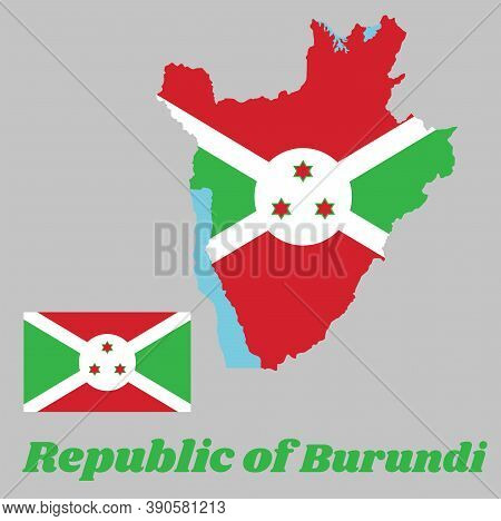 Map Outline And Flag Of Burundi, A White Diagonal Cross Divided Into Four Panels Of Red And Green An