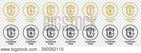 Cook Minutes Icon For Cereal And Pasta Cooking Time On Food Package. Vector Saucepan And  Minutes Te