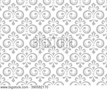 Wallpaper In The Style Of Baroque. Seamless Vector Background. White And Gray Floral Ornament. Graph