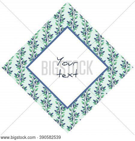 Diamond-shaped Frame With Vertical Foliate Branches, For Greeting Cards, Invitations, Posters, Banne