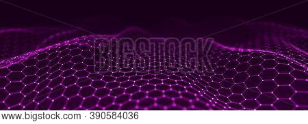 Abstract Dynamic Wave Of Points And Lines. Hexagon. Big Data. Network Of Particles. Digital Backgrou