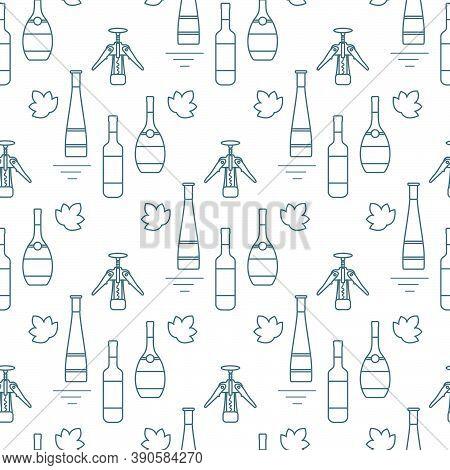 Seamless Pattern Vector Illustration Bottles Of Alcoholic Beverage, Corkscrew. Liquor Store, Bar. Al