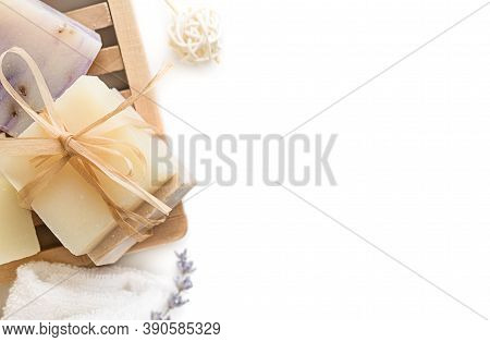 Handmade Soap Bars On A White Background. Natural Organic Soap Bars, Spa Accessories, Health And Bea