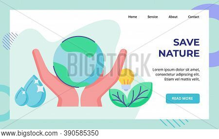 Save Nature Campaign For Web Website Home Homepage Landing Page Template Banner With Flat Style