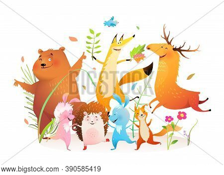 Kids Forest Animals Dancing Party, Happy Bear, Fox Moose Rabbit Squirrel And Hedgehog Forest Pets Di