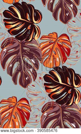 Autumn Fall Monstera Leaves Plant, Seamless Repetition Design With Hawaiian Nature Print. Modern Int