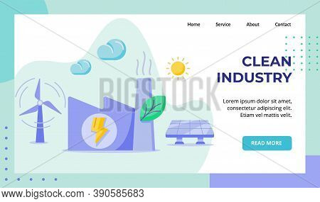 Clean Industry Factory Building Green Leaf Wind Solar Power Energy Campaign For Web Website Home Hom