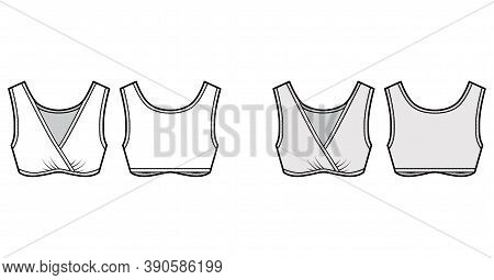 Sleep Bra Lingerie Technical Fashion Illustration With Gathered Surplice, Wide Shoulder Straps. Flat