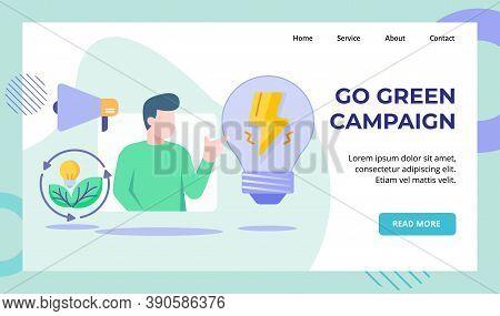 Go Green Campaign Men Presentation Green Energy Leaf Bulb Lamp Lightning Megaphone Campaign For Web