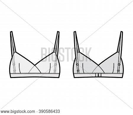 Sheer Bralette Lingerie Technical Fashion Illustration With Adjustable Shoulder Straps, Hook-and-eye