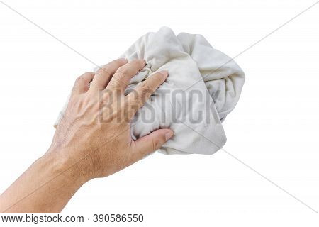 Fabric Dirty Ragged In Hand Of Man Isolated On White, Cleaning Rag Dry, Dirty Cloth, Kitchen Rag, Wa