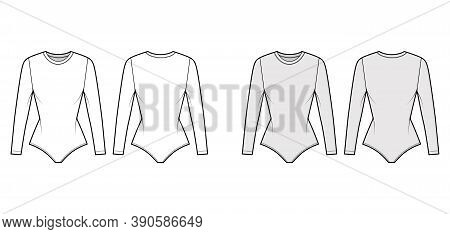 Stretch-jersey Bodysuit Technical Fashion Illustration With Crew Neck, Long Sleeves, Fitted Body. Fl