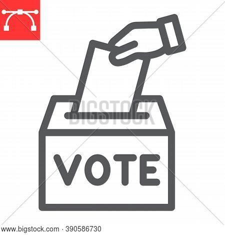 Hand Voting Ballot Box Line Icon, Election And Vote, Vote Box Sign Vector Graphics, Editable Stroke