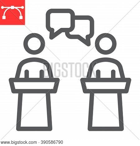 Debate Line Icon, Election And Discussion, Political Debate Sign Vector Graphics, Editable Stroke Li