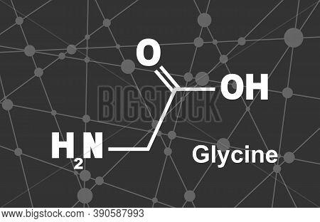 Glycine - Main Amino Acid And Inhibitory Neurotransmitter. Chemical Molecular Formula. Lines And Dot