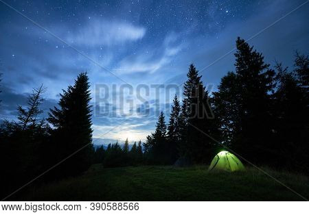 Horizontal Snapshot Of Beautiful Summer Night In The Mountains, Magical Sky Full Of Stars Over High