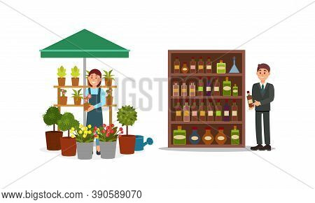 Man And Woman Vendor Standing At Street Booth Or Stall With Flowers And Alcoholic Drinks Vector Illu