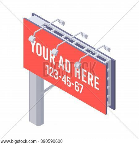Isometric Billboard With Red Canvas For Outdoor Advertising. Billing Banner With Lamps For Ooh.