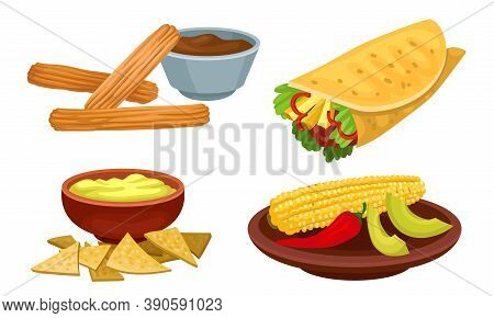 Mexican Dish With Burrito And Guacamole With Nacho Vector Set