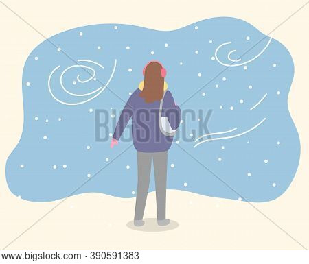 Woman Stand In Winter Park Alone. Lady Walk Through Forest In Warm Clothes Like Coat And With Handba