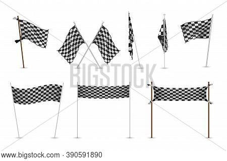 Realistic Racing Flags Set. Collection Of Realism Style Drawn Black And White Checkered Standards Fo
