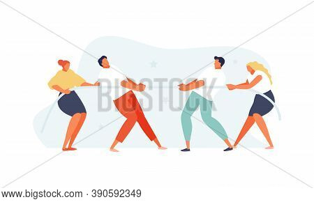 Group Of Business People Tug Of War. Competition And Business Struggle Vector Concept