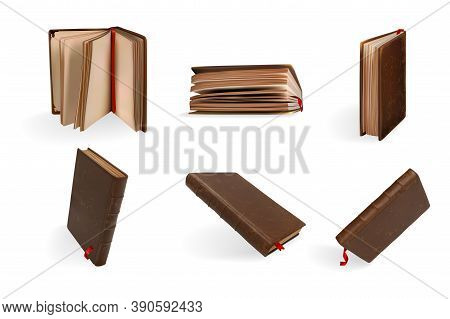 Realistic Books Set. Collection Of Mockups Realism Style Drawn Antique Opened And Closed Textbooks W
