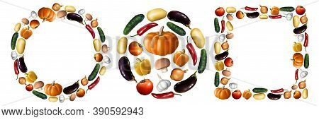 Realistic Vegetables Set. Collection Of Realism Style Drawn Pepper Pumpking Tomato Cucumber Isolated
