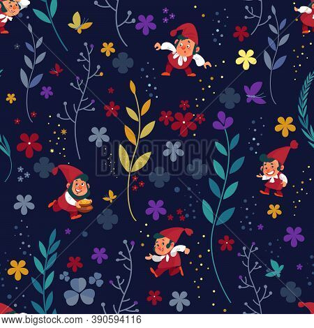 Seamless Magical Pattern Background With Dwarfs, Gnomes In Colorful Fantastic, Fairy Tale Forest. Ve