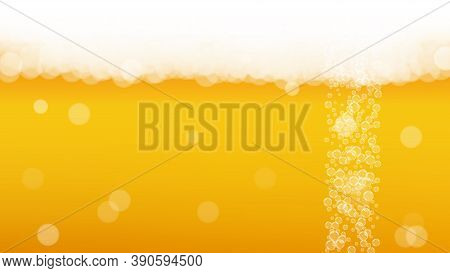 Oktoberfest Background. Beer Foam. Craft Lager Splash. Bar Banner Template. Hipster Pint Of Ale With