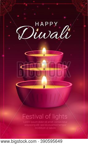 Diya Lamps, Vector Diwali Or Deepavali Light Festival Of Indian Hindu Religion Holiday. Pink Clay La