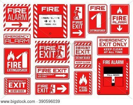 Fire Emergency Signs Vector Design Of Fire Exit, Extinguisher, Alarm Button And Pull Station, Safety