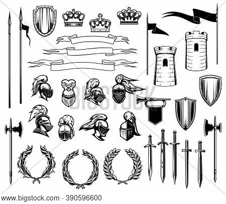 Knight Heraldry Vector Set Of Medieval Shields, Royal Crowns, Knight Armors, Helmets And Swords. Anc