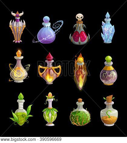 Potion Bottles Vector Icons, Magic Elixir In Glass Flasks With Green Leaves, Fire, Ice Crystals And