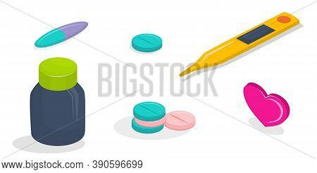 A Set Of Medical Icons In Isometry Isolated On A White Background. Icons Electronic Thermometer, Pil