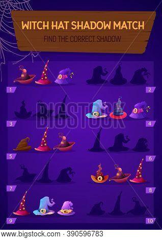 Kids Game Witch Hat Shadow Match, Children Logic Activity, Preschool Or Kindergarten Education With