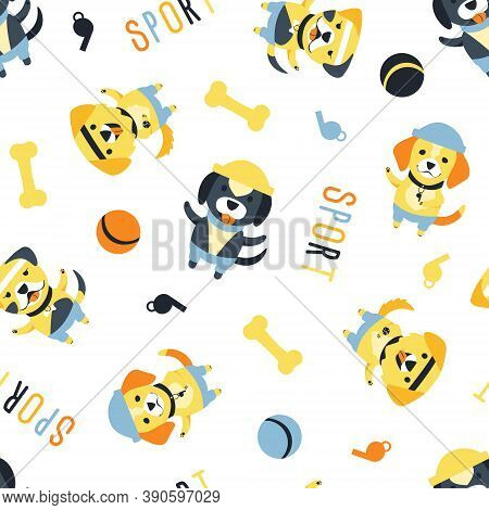Seamless Pattern Of Cute Dogs Of Different Breeds. Funny Cartoon Character. Dogs With Accessories Fo