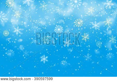 Christmas Snowflakes Blue Vector Background. Winter Holiday Falling Snow Pattern With Steam, Decorat