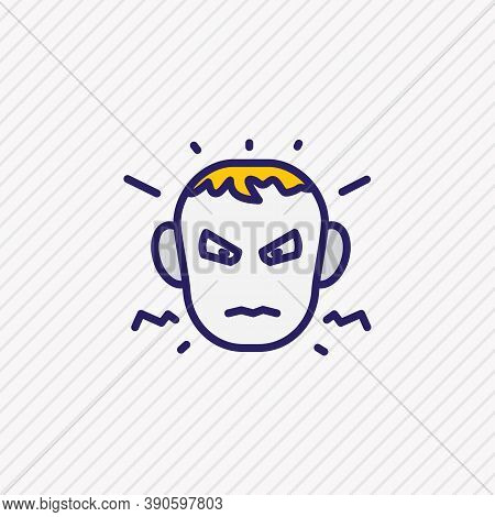 Vector Illustration Of Annoyed Icon Colored Line. Beautiful Emoticon Element Also Can Be Used As Ang