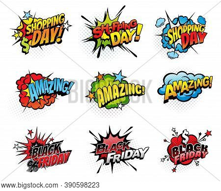 Comics Bubbles For Shopping Day And Black Friday Isolated Vector Icons. Cartoon Pop Art Retro Sound