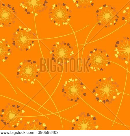 Cute Dandelion Blowing Vector Floral Seamless Pattern. Lovely Flowers With Heart Shaped Fluff Flying