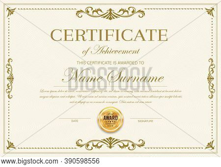 Certificate Of Achievement Vector Template, Diploma, Official Award Frame, Ornate Border Design. Pap